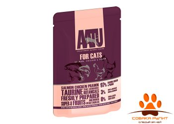 AATU паучи для кошек с лососем, курицей и креветками, AATU FOR CATS SALMON, CHICKEN & PRAWN 85г