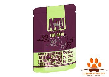 AATU паучи для кошек с уткой и куриной печенью, AATU FOR CATS DUCK & CHICKEN LIVER 85г
