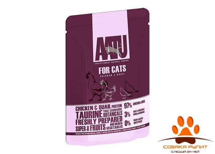 AATU паучи для кошек с курицей и перепелом, AATU FOR CATS CHICKEN & QUAIL 85г