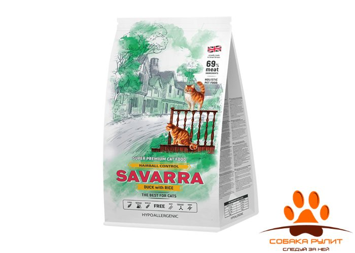 SAVARRA Adult Cat Hairball Сухой корм для/кошек Утка/рис