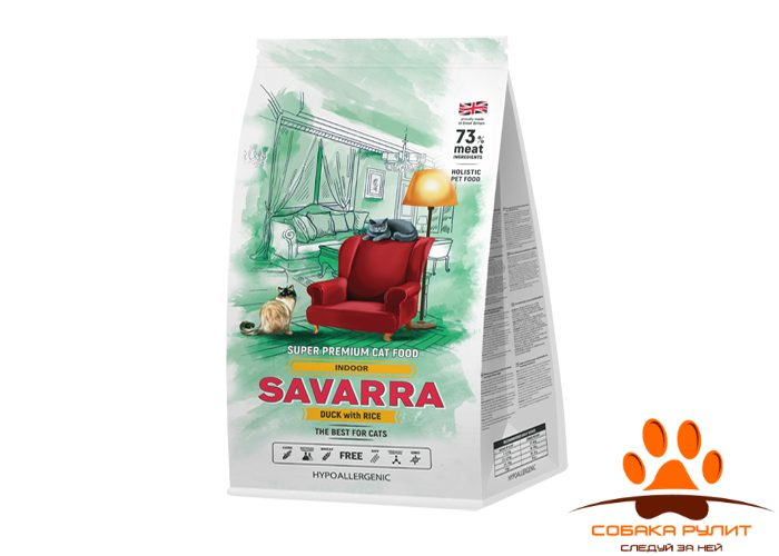 SAVARRA Indoor Adult Cat Сухой корм для/кошек живущих в помещении Утка/рис