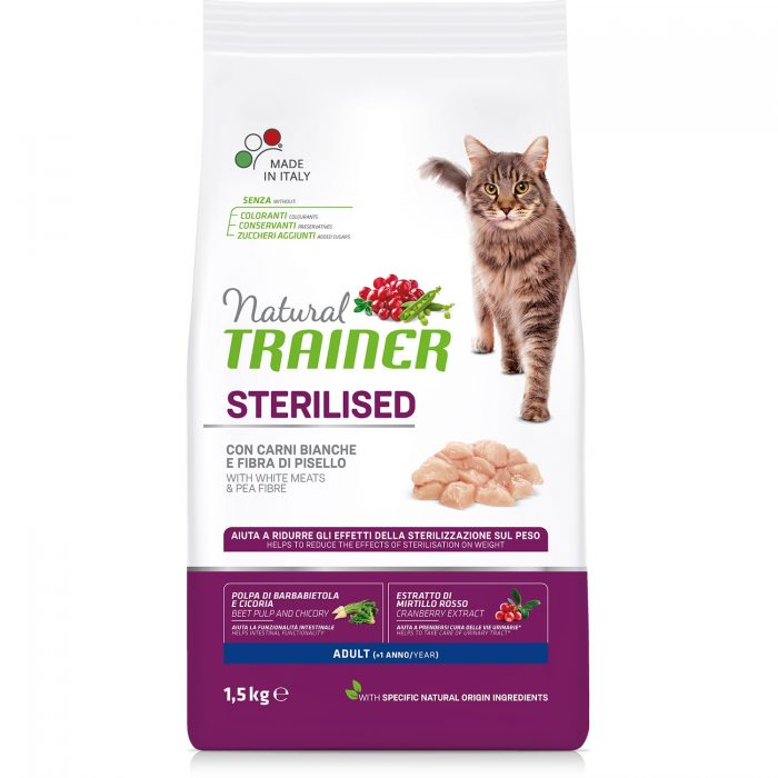 Trainer Natural Cat Adult Sterilised – Fresh White Meats