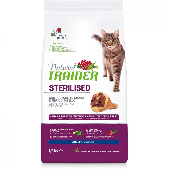 Trainer Natural Cat Adult Sterilised – Dry-Cured Ham