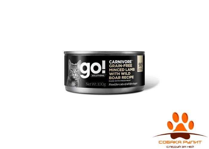 Go! консервы беззерновые с рубленым мясом ягненка и дикого кабана для кошек, GO! Carnivore Grain Free Minced Lamb with Wild Boar CF