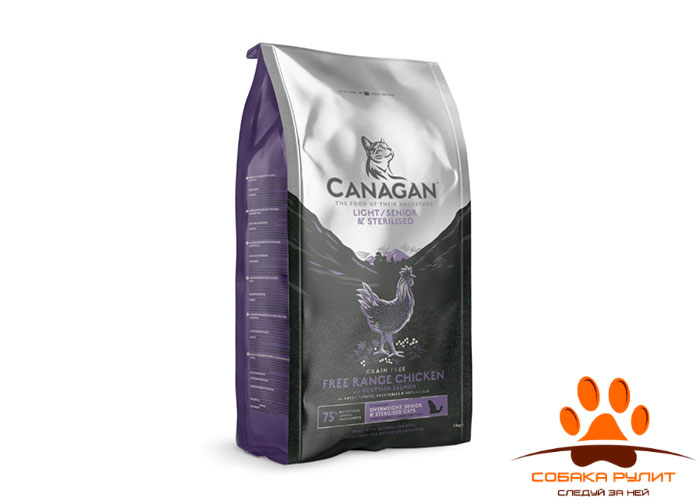 CANAGAN Grain Free Light/Senior/Sterilised корм  для пожилых, стерилизованных и кошек с избыточной массой тела, Цыпленок и лосось