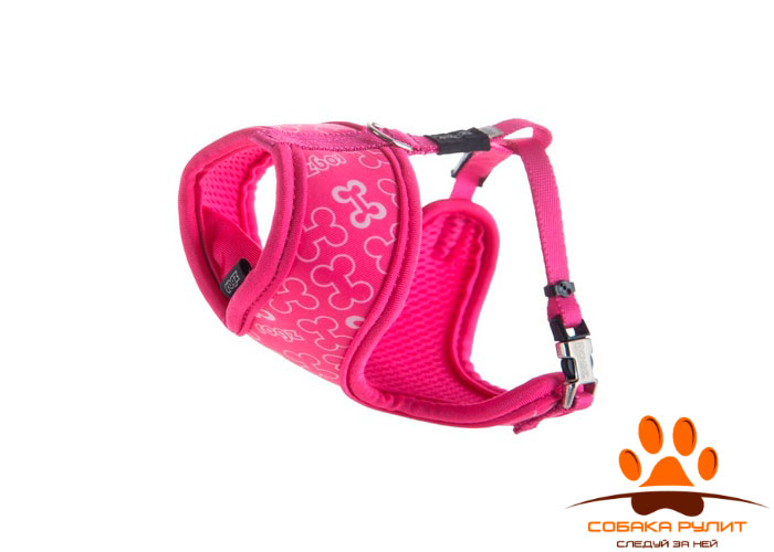 """Rogz шлейка-манишка для собак малых пород """"Розовые косточки"""" FABRIC HARNESS"""