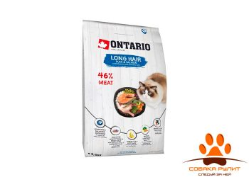 Корм Ontario для длинношерстных кошек с уткой и лососем