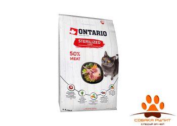 Корм Ontario для стерилизованных кошек с ягненком