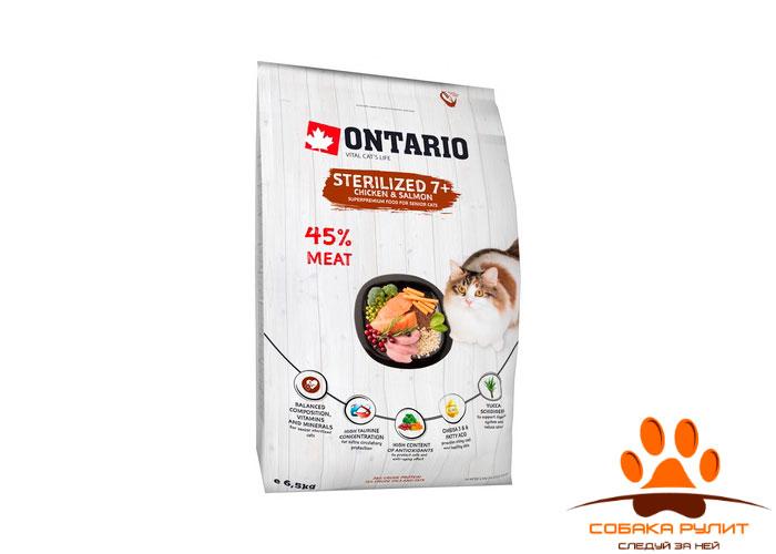 Корм Ontario для пожилых стерилизованных кошек с курицей