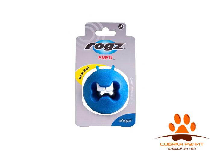 Rogz игрушка с отверстиями для лакомств и массажными насечками средняя