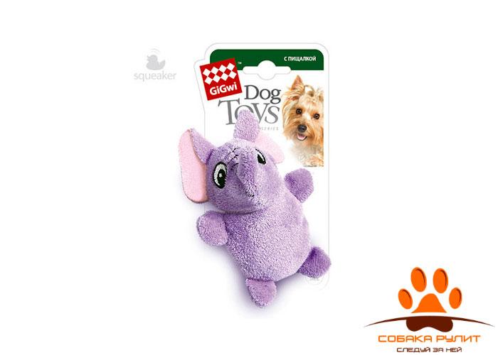 GiGwi слон, игрушка с двумя пищалками, 9 см