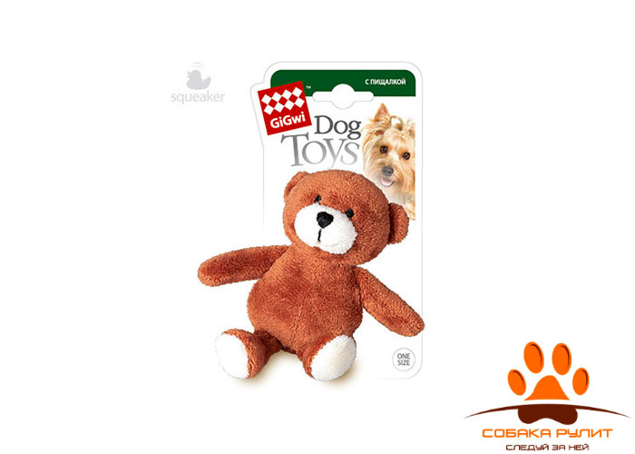 GiGwi медведь, игрушка с пищалкой, 9 см
