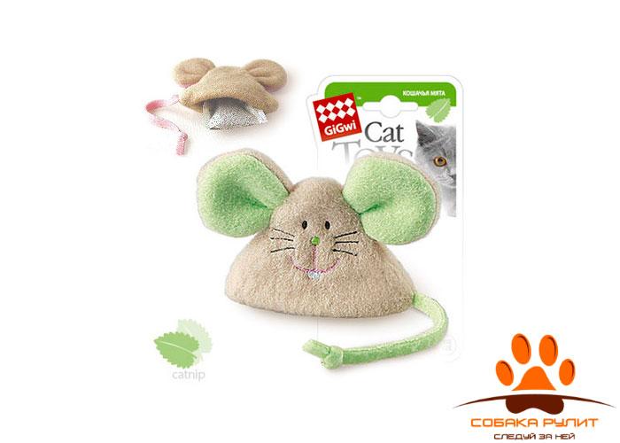 GiGwi мышка, игрушка с кошачьей мятой, 8×8 см