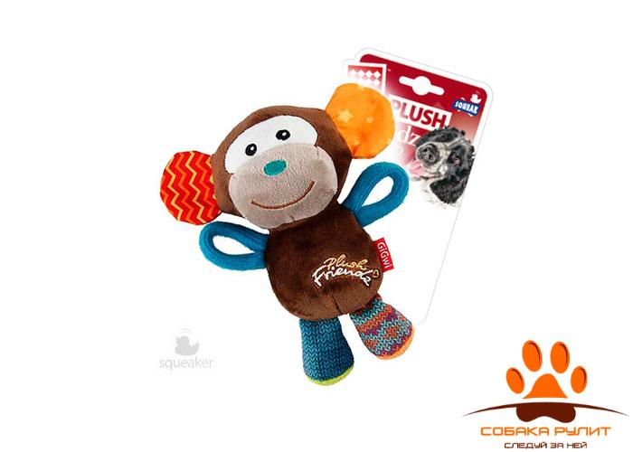 GiGwi обезьянка, плюшевая игрушка с пищалкой, 16×14 см