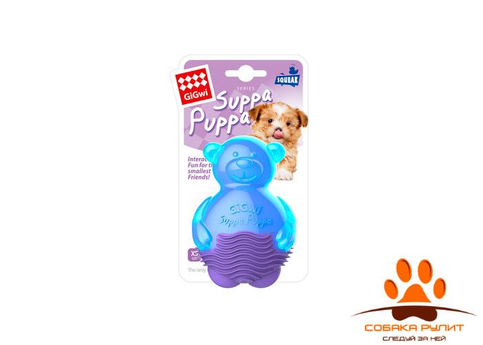 GiGwi мишка, игрушка с пищалкой,синий, 9 см
