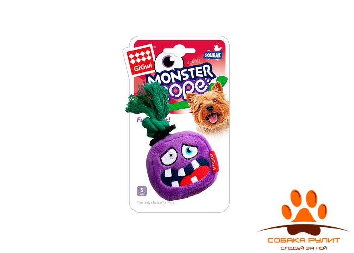 GiGwi монстр, игрушка с пищалкой и веревкой, 8 см