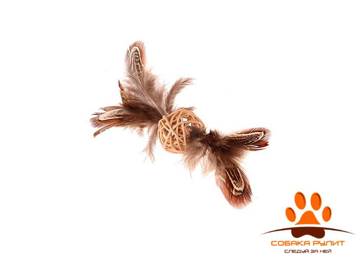 GiGwi плетеный мячик с колокольчиком и перьями, 13 см