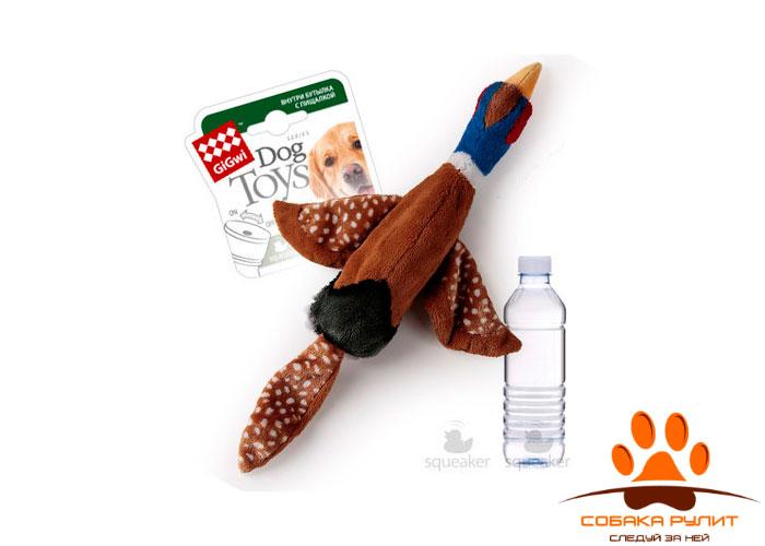"""GiGwi игрушка """"Птица"""" с пластиковой бутылкой, с пищалкой"""