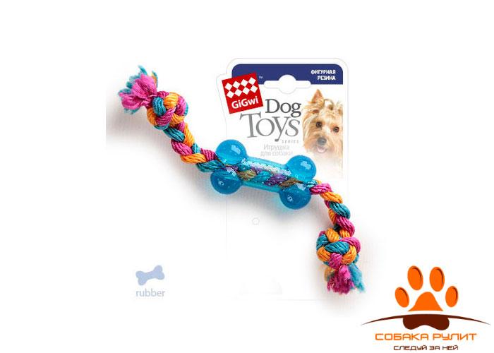 GiGwi игрушка маленькая косточка на веревке, резина/веревочный материал