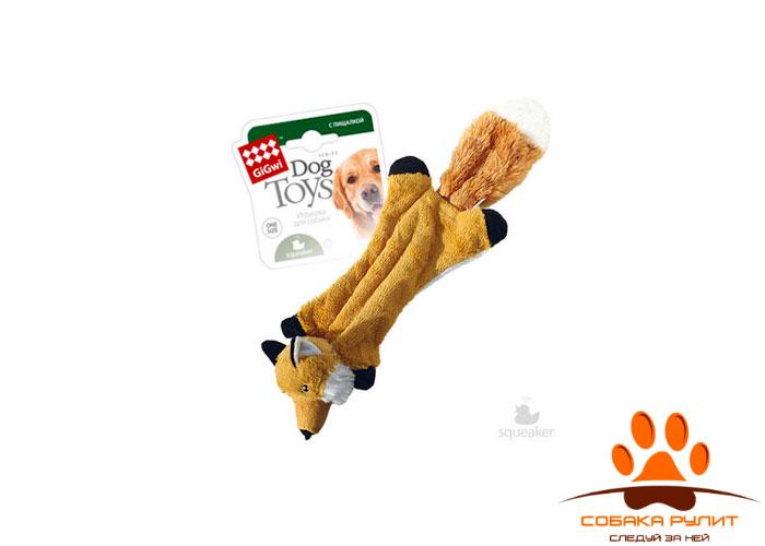 GiGwi игрушка шкурка лисы с пищалками, ткань/пластик