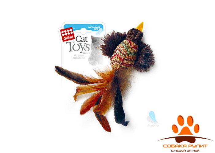 "GiGwi игрушка ""Птичка"" с перьями, ткань/перо"