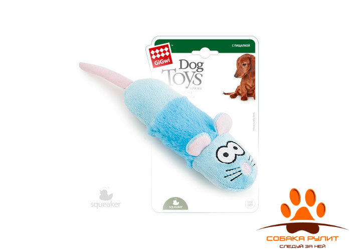 "GiGwi игрушка ""Мышка"" с пищалой, текстиль/пластик"