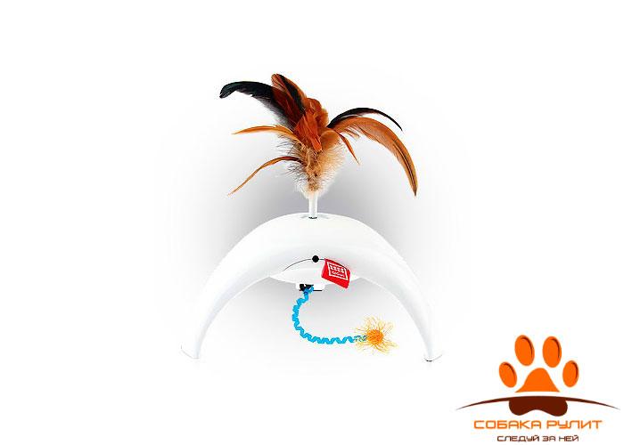 "GiGwi игрушка интерактивная для кошек ""Фезер Спиннер"", перо/пластик"