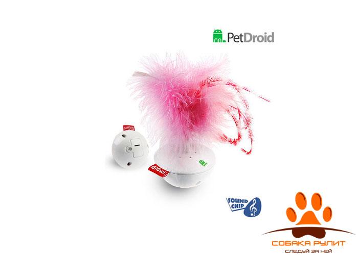 GiGwi игрушка интерактивная со звуковым чипом, перо/пластик