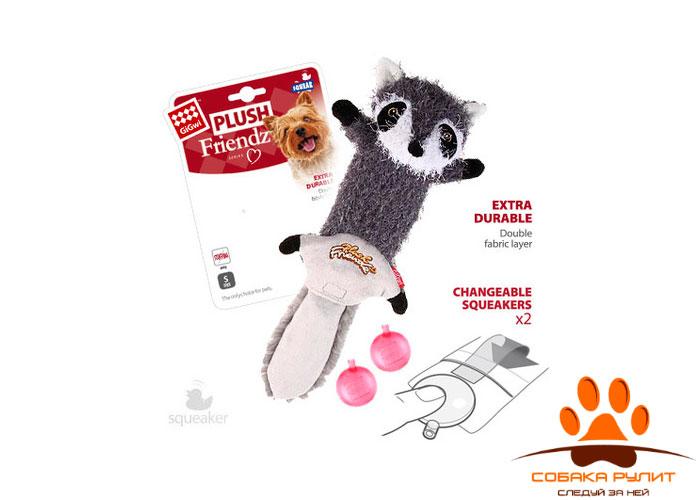 "GiGwi игрушка ""Енот"" шкурка с пищалкой, текстиль"