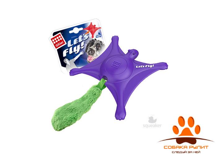 "GiGwi игрушка ""Белка-летяга"" с пищалкой, фиолетовая, резина/плюш"