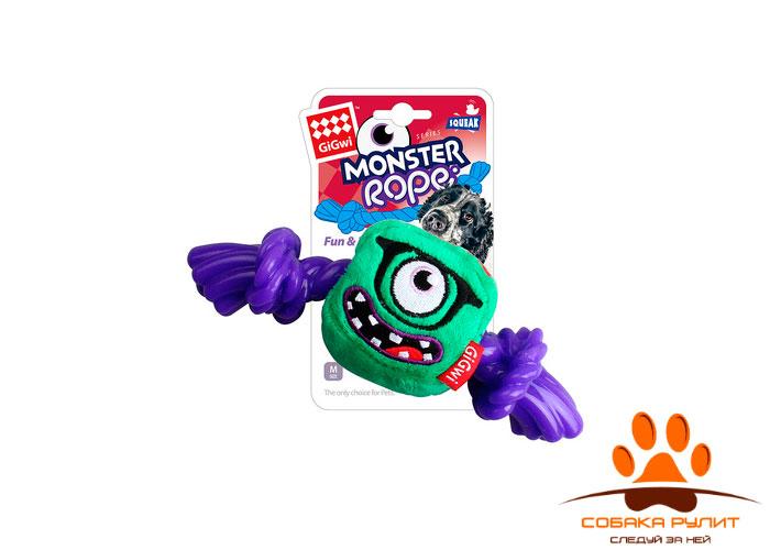 """GiGwi игрушка """"Монстр"""" с пищалкой и резиновой веревкой, текстиль/резина, 23 см"""