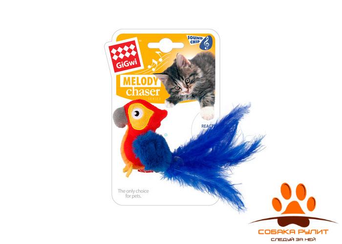 "GiGwi игрушка ""Попугай"" со звуковым чипом, текстиль/пероGiGwi"