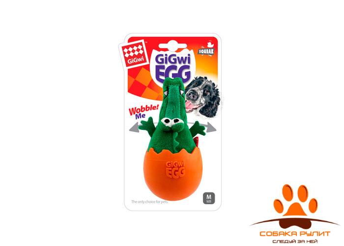 "GiGwi игрушка ""Крокодил"" неваляшка с пищалкой, текстиль/резина"