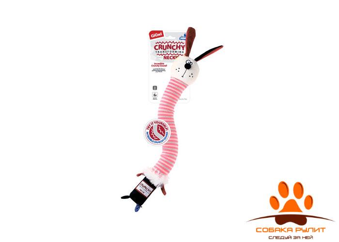 """GiGwi игрушка """"Заяц"""" с пищалкой и хрустящей шеей, текстиль/пластик"""