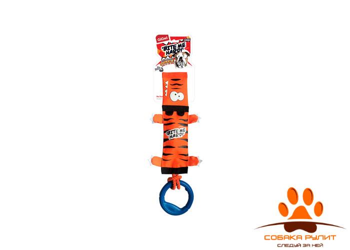 """GiGwi игрушка """"Тигр"""" с пищалкой, веревкой и резиновым кольцом"""