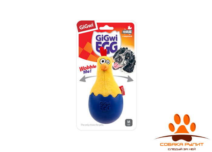 "GiGwi игрушка ""Цыпленок"" неваляшка с пищалкой, текстиль/резина"