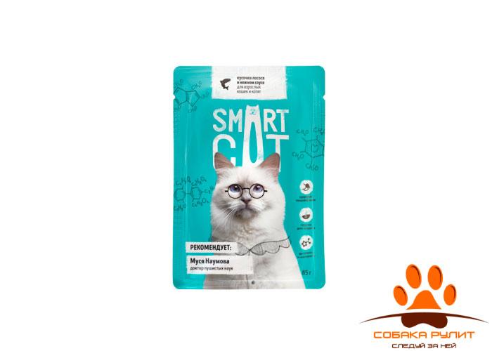 Smart Cat паучи для взрослых кошек и котят: кусочки лосося в нежном соусе