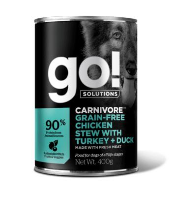 Go! консервы беззерновые с тушеной курицей, индейкой и мясом утки для собак, GO! Grain Free Chicken Stew with Turkey + Duck DF
