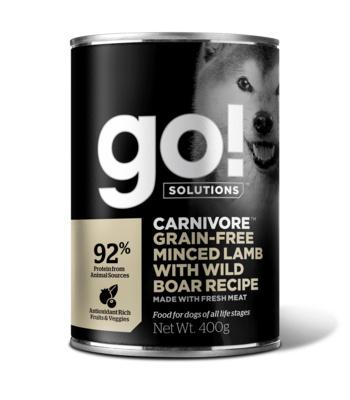 Go! консервы беззерновые с рубленым мясом ягненка и дикого кабана для собак, GO! Carnivore Grain Free Minced Lamb with Wild Boar DF