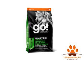 Корм GO! беззерновой для щенков и собак, с индейкой для чувствительного пищеварения, Sensitivity + Shine LID Turkey Dog Recipe