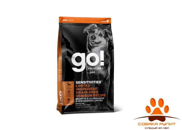Корм GO! беззерновой, для щенков и собак со свежей олениной для чувствительного пищеварения, Sensitivities Limited Ingredient Grain-Free Venison recipe for dogs