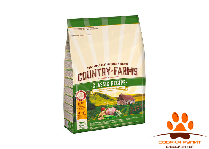 Country Farms классический. Полнорационный корм для взрослых собак, с высоким содержанием лосося