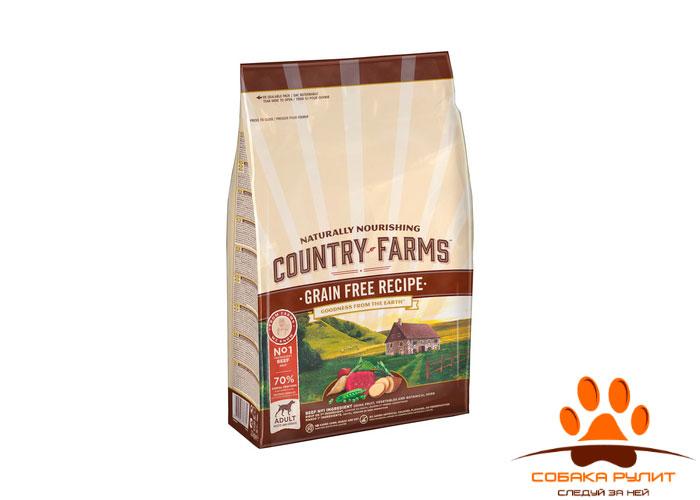 Country Farms беззерновой. Полнорационный корм для взрослых собак, с высоким содержанием говядины