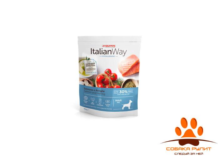 Italian Way безглютеновый, для собак малых пород с чувствительной кожей, лосось и сельдь, Mini Hypoallergenic Salmon/Herrings