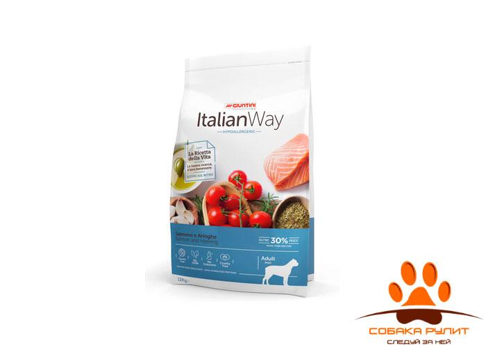 Italian Way безглютеновый, для собак крупных пород с чувствительной кожей, лосось и сельдь, Maxi Hypoallergenic Salmon/Herrings