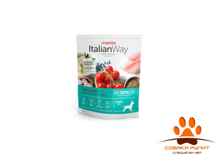 Italian Way беззерновой, для собак малых пород, со свежей форелью и черникой, контроль веса и профилактика аллергии, Mini Ideal Weight Trout/Blueberry