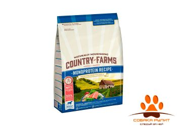 Country Farms монопротеиновый сухой корм полнорационный для взрослых собак, с высоким содержанием лосося