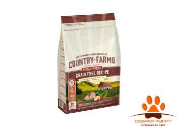 Country Farms беззерновой. Полнорационный корм для взрослых собак мелких пород, с высоким содержанием индейки